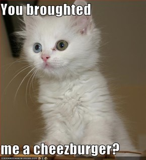 You broughted  me a cheezburger?