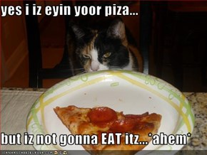yes i iz eyin yoor piza...  but iz not gonna EAT itz...*ahem*
