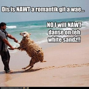 NO I will NAWT danse on teh white sandz!!
