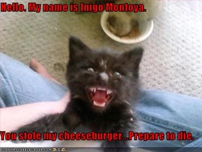 Hello. My name is Inigo Montoya.     You stole my cheeseburger...Prepare to die.