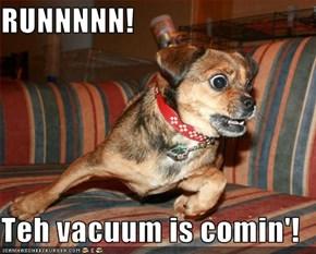 RUNNNNN!  Teh vacuum is comin'!