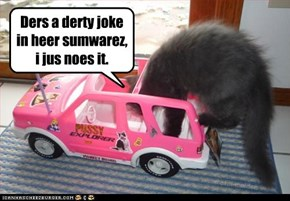 Ders a derty joke in heer sumwarez, i jus noes it.