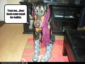 Trust me....deez bootz nawt mayd fur walkin.