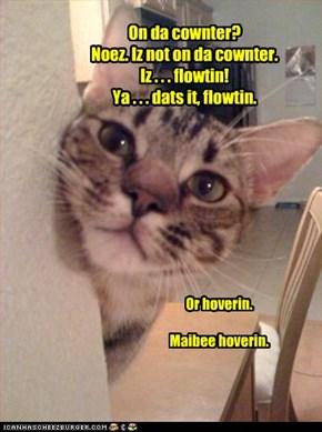 On da cownter? Noez. Iz not on da cownter. Iz . . . flowtin! Ya . . . dats it, flowtin.