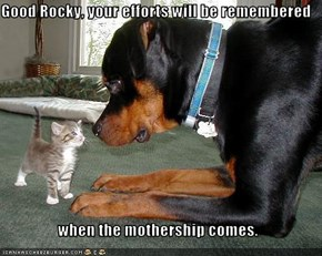 Good Rocky, your efforts will be remembered   when the mothership comes.