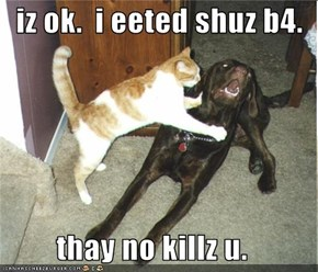 iz ok.  i eeted shuz b4.  thay no killz u.
