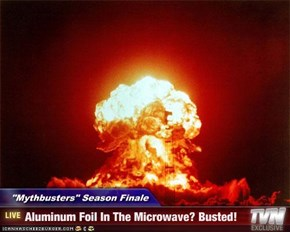 """Mythbusters"" Season Finale - Aluminum Foil In The Microwave? Busted!"