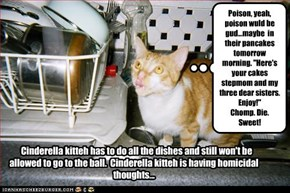 Cinderella kitteh has to do all the dishes and still won't be allowed to go to the ball.  Cinderella kitteh is having homicidal thoughts...