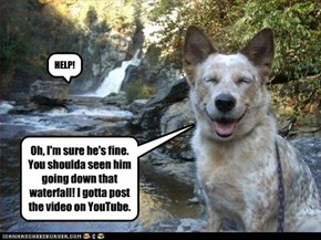 Oh, I'm sure he's fine. You shoulda seen him going down that waterfall! I gotta post the video on YouTube.