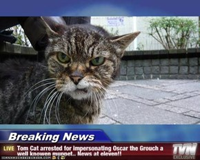 Breaking News - Tom Cat arrested for impersonating Oscar the Grouch a well knowen muppet.. News at eleven!!