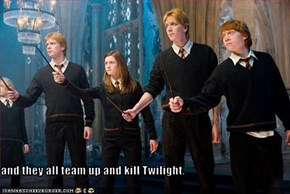 and they all team up and kill Twilight.