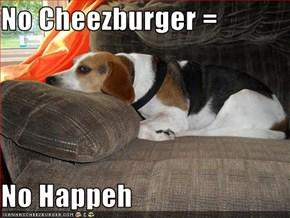 No Cheezburger =  No Happeh