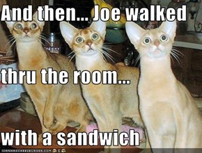 And then... Joe walked thru the room... with a sandwich