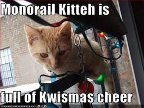 Monorail Kitteh is  full of Kwismas cheer