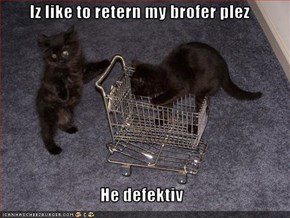 Iz like to retern my brofer plez  He defektiv