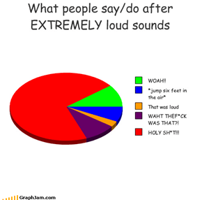 What people say/do after EXTREMELY loud sounds