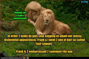 "In order 2 make da gals stop nagging us about our messy disheveled appearancez, Frank & I went 2 one of dair so-called ""hair sawons"".   Frank is 2 embarrassed 2 comment rite nao."