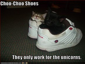 Choo-Choo Shoes  They only work for the unicorns.