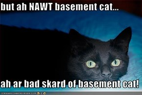 but ah NAWT basement cat...  ah ar bad skard of basement cat!