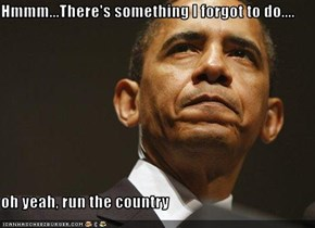 Hmmm...There's something I forgot to do....  oh yeah, run the country