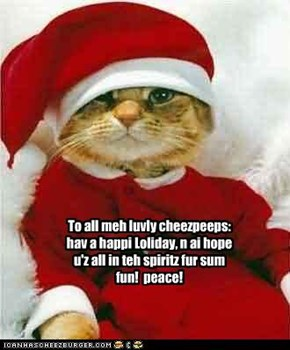 To all meh luvly cheezpeeps: hav a happi Loliday, n ai hope u'z all in teh spiritz fur sum fun!  peace!