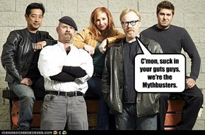 C'mon, suck in your guts guys, we're the Mythbusters.