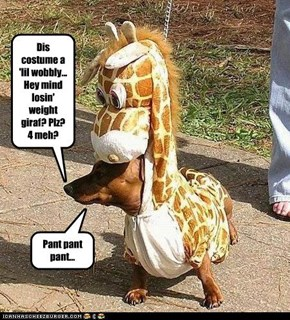 Dis costume a 'lil wobbly... Hey mind losin' weight giraf? Plz? 4 meh?