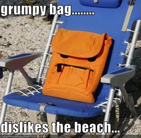 grumpy bag........  dislikes the beach...