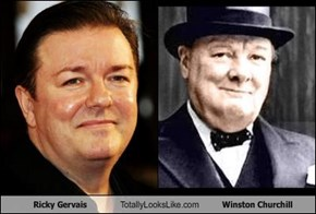 Ricky Gervais Totally Looks Like Winston Churchill