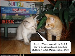 Pssst... Wanna have a little fun? I cawt a mowsie and need some help stuffing it in teh Monopolie box. U in?