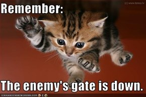 Remember:  The enemy's gate is down.