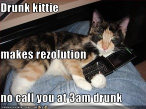Drunk kittie makes rezolution no call you at 3am drunk