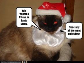 Yah, 'course I b'lieve in Santa Claus.
