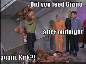 Did you feed Gizmo after midnight again, Kirk?!