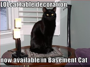 LOLcat table decoration  now available in Basement Cat