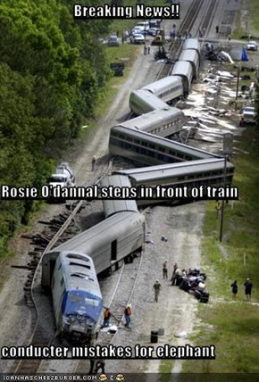 Breaking News!! Rosie O'dannal steps in front of train conducter mistakes for elephant