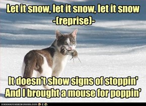 Let it snow, let it snow, let it snow  -(reprise)-     It doesn't show signs of stoppin'  And I brought a mouse for poppin'