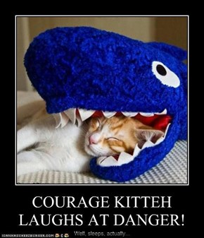 COURAGE KITTEH LAUGHS AT DANGER!
