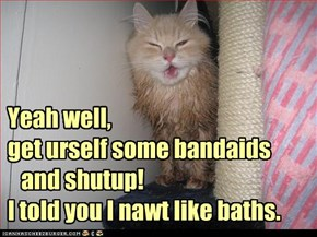 Yeah well, get urself some bandaids    and shutup! I told you I nawt like baths.