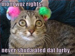 mom wuz rights,   never shuda ated dat furby.