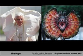 The Pope Totally Looks Like Dilophosaurus from Jurassic Park