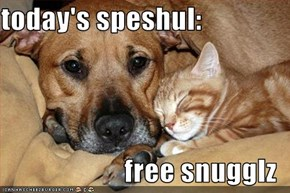 today's speshul:  free snugglz