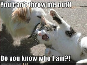You can't throw me out!!  Do you know who I am?!