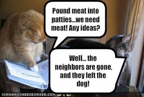 Pound meat into patties...we need meat! Any ideas?