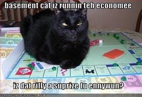basement cat iz runnin teh economee  iz dat rilly a suprize tu ennywun?