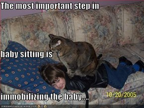 The most important step in  baby sitting is  immobilizing the baby....