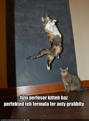 fizix perfeser kitteh hazperfekted teh fermula fer anty grabbity