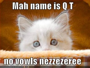 Mah name is Q T  no vowls nezzezeree
