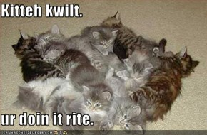 Kitteh kwilt.  ur doin it rite.
