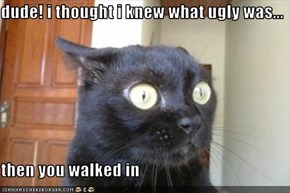 dude! i thought i knew what ugly was...  then you walked in